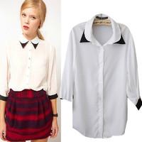 SZ062 2015 New Fashion Ladies White Summer Shirts Women's Tops Chiffon Blouse Solod Three Quarter sleeve Blusas Femininas S&Z