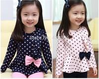 2014 new brand girls korean fashion spring autumn popular polka dot bowknot knitted sweater+tight legging pants