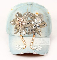 Summer influx cowgirl hat baseball cap affixed to drill glass stones lace cap visor cap