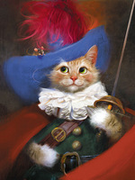 Cat Knight Modern Spray Painting Printed Oil Paintings Wall Decoration Without Frame