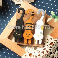 zakka cartoon oh my cat  Milan painted wooden cat clip/photo clip / snacks clip 3pcs /packs  free shipping
