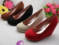 2014 women high heels shoes black/red/beige/brown wedges platform round toe pumps 30 31 32 33 40 41 42 43 sy-412