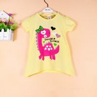 2014 Children Clothing New Summer Girl Kids T shirt O-neck Print Dinosaur Short Sleeve Girl Baby T shirt