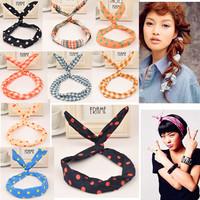 Hot Sale Cute Hair Jewelry Ribbon Rabbit Ear Hairbands Head band Barrettes Hairwear for Women Hair Accessories Summer