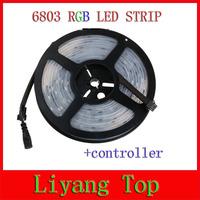 Free shipping 16Ft 5M 5050 RGB  6803 IC LED Strip Light Waterproof 150LED IP67 tube magic color 12V+Change RF Remote controller