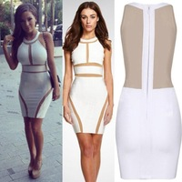2014 New Star Sexy Club Dress Perspective Gauze Bndage Party Dress Women's Zipper Patchwork Bodycon Dresses Free Shipping E1443