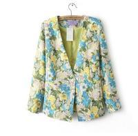 Women Blazer Notched Collar A Button Cardigan Jacket Ladies Blazer Green Long Sleeve Print Dress 2014 New Floral Woman Clothes