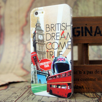 Free Shipping 1PCS  Big Ben and Red Bus Painted colorful hot sell fashion phone case