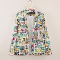 Cardigans Hot Sale Women Blazer: Stamps Print Jackets V-neck Sleeve Outerwear Blazer Feminino 2014 New Casual Clothes Retail