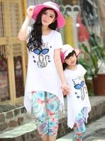 New 2014 Girls Clothing Family Set Summer Girl Dress Flower Cat Kid Children Hoodies Child Kids T Shirts + Pants