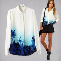 Free shipping!chiffon blouse European Hem gradient women's blue flower printed chiffon long-sleeved shirt bottoming shirt  G0089