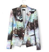 Blazer Feminino Women Small Regular Blazer Landscape V-neck Long-sleeved A Button Suit Outerwear Clothing 2014 New Wear Hot Sale