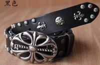 high quality new fashion genuine leather cross pin buckle men belts ,cowhide rivets punk waist belts PK503