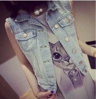 2014 New Fashion Summer Women Street Hole Denim Vest Sleeveless Light Blue Denim Vest Jacket Size:S-L Free Shipping A344