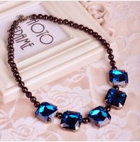 Free shipping Korea retro gem  glass crystal  collar sweater short collarbone female necklace