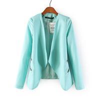 2014 Summer Autumn European and American Style Mint & Black Color Zipper Decoration Leisure Blazer Women Suits For Women Zapa