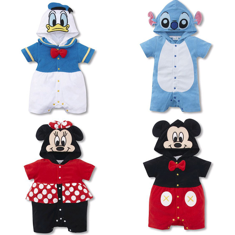 Free shipping 100% cotton worsted Mickey Minnie bodysuit sleeved hooded jumpsuit hot selling online L45(China (Mainland))