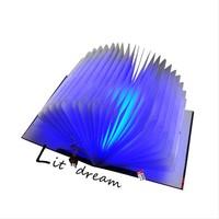 Gift flip mini books led bed light small night light usb charge led folding lamp decoration bed-lighting novelty