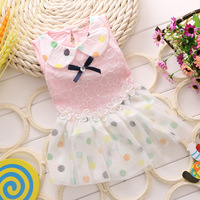 Retail Girl Baby Dresses Summer 2014 Flower Dot Mesh One-piece Dress Turndown Collar Ball Gown Dress Frozen Girl Princess Dress