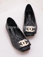 European Generous temperament metal bow square toe Ballet Flat shoes Women flat shoes Free Shipping 35--41