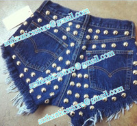 Free shipping new  pluas  size brand new DENIM SHORTS High Waisted spike  shorts Hotpants vintage 0757760