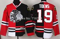 Chicago Blackhawks 19 Jonathan Toews Red Black skeleton head Split Hockey Jersey Cheap Best Quality Stitched logos Free shipping