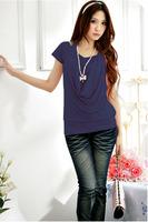 Korean women's summer short-sleeved cotton T-shirt wrinkled chest Halter special leave two short-sleeved T-shirt wholesale