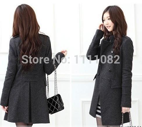 Casacos Femininos 2014 Women Winter Coat Woman Wool Blends Double-breasted Vestido Plus Winter Jackets Autumn Outerwear Overcoat(China (Mainland))