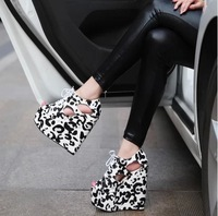 free shipping,2014 women open toe Leopard wedges high heels the latest shoes,platform sandals,2 colors