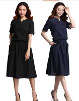 Free Shipping ! National Wind Vintage Casual A-Line loose Cotton Linen Medium-Long Woman Dress QYN3562 XL-2XL-3XL-4XL