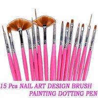 15pcs Pink Design  UV Gel Nail art Dotting Pen Drawing Painting Brush set
