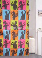 Bathroom blinds screen printing waterproof polyester fabric shower curtain 180 * 180cm figure mildew color block