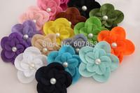 Felt Flower clips Hair Flowers Pearl Flower clip ,Baby girl children hair accessories 7.5cm 100pcs