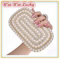 2014 Luxury Women Party Bling Rhinestone Evening Bag Elegant Pearl Bridal Handbag Silk Ring Clutch Wedding Fashion Shoulder Bag