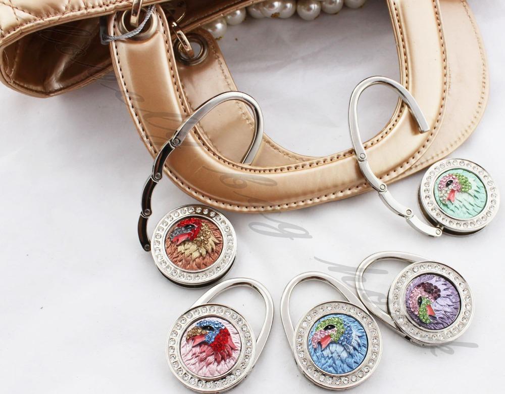 Fedex Free Shipping crystal eagle round shape purse handbag hook bag hanger holder hook bag hook(China (Mainland))