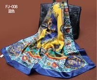 1PC 90*90cm Fashion national style dragon printed square satin silk scarf /WJ-143