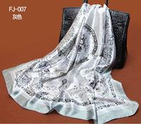 1PC 90*90cm Fashion national style porcelain printed square satin silk scarf /WJ-144