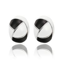 Wholesale New Fashion 18K White Gold Plated Jewelry Women's Stud Earrings White Black E642