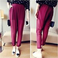 New 2014 European Style Women Harem Pants Sweatpants Plus Size High Waist Pants Women Desigual Chiffon Pants Free Shipping
