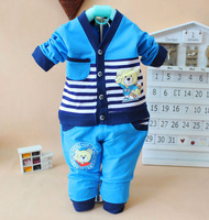 2014 New cotton baby autumn&winter underwear suits casual stripped character children clothing set 6816