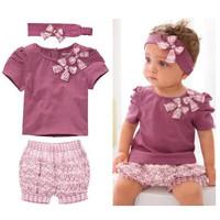 Baby Girls Clothing Set 3pcs Suit Girl t shirt + Shorts + Headband Newborn Roupas De Bebe Conjuntos Baby Girl Clothing Set