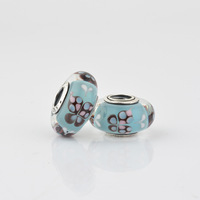 Light Blue Butterfly Kisses Glass Beads with 925 Sterling Silver Core Fit Pandora Style Bracelet JPM032-B