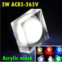 Colorful Decorative square Acrylic Mask LED Light 3W AC85-265V rgb LED Downlight