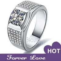 Luxury Handsome Man ring 1 carat Synthetic Diamond 5 Row-diamond ring Engagement Ring Wedding rings for man Platinum plated
