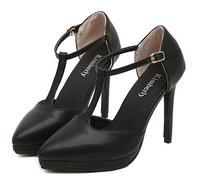 2014 new women fashion buckles side empty pointed sexy summer lady sweet  high heels Sandal shoes platform Pumps black