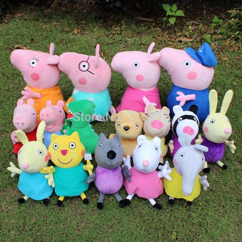 Brinquedos 16pcs/lot peppa pig toute la famille de jouets en peluche de haute qualité lavable enfant enfants mignons& animaux en peluche jouets en peluche
