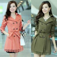 2014 new style autumn clothing Slim Coat Lace medium-long Women Trench fashion overcoat Plue Size M-XXXL Q116