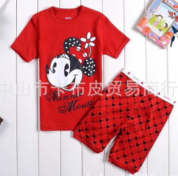 2014 verão set mickey minnie mouse cartoon miúdos vestuário sets, crianças sleepwear conjuntos meninos meninas pijamas roupas pequena mola(China (Mainland))