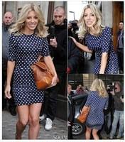 Hot Sale! Elegant Women Summer Dress Celebrity Ladies Tunic Polka Dot Print Mini Bodycon Casual Dress Free Shipping