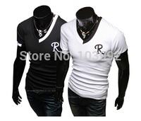 Size M-XXL Autumn Men Tees Elasticity Slim Long sleeve t shirt V-Neck cotton Classic T-Shirts black white Wholesale&Retail,